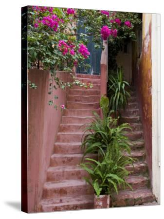 Colorful Stairways, Chania, Crete, Greece-Darrell Gulin-Stretched Canvas Print