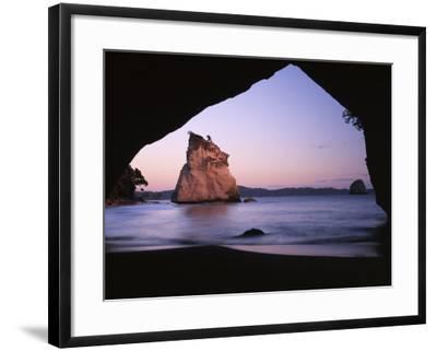 Coastline, Cathedral Cove, Coromandel Peninsula, North Island, New Zealand-Charles Gurche-Framed Photographic Print