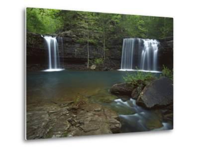 Twin Falls on Devil's Fork Richland Creek Wilderness, Ozark- St Francis National Forest, Arkansas, -Charles Gurche-Metal Print