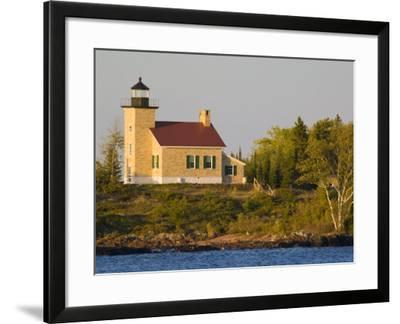 Lighthouse on Lake Superior, Copper Harbor, Michigan, USA-Chuck Haney-Framed Photographic Print