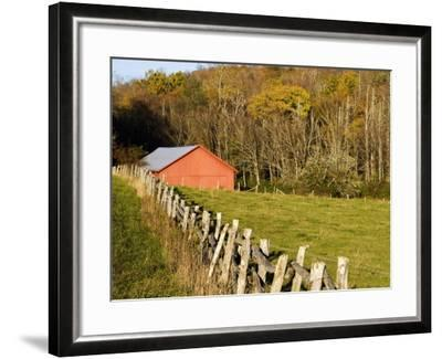 Red Barn and Fence along the Blue Ridge Parkway, Blowing Rock, North Carolina, USA-Chuck Haney-Framed Photographic Print