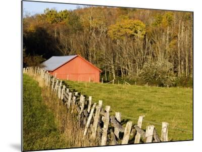 Red Barn and Fence along the Blue Ridge Parkway, Blowing Rock, North Carolina, USA-Chuck Haney-Mounted Photographic Print