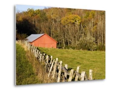 Red Barn and Fence along the Blue Ridge Parkway, Blowing Rock, North Carolina, USA-Chuck Haney-Metal Print
