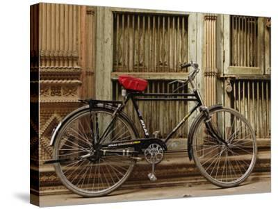 Bicycle in narrow gully, Delhi, India-Adam Jones-Stretched Canvas Print
