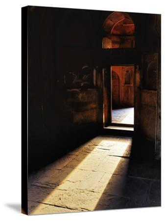 Afternon sunlight through doorway, Tomb of Mohammed Shah, Lodhi Gardens, New Delhi, India-Adam Jones-Stretched Canvas Print