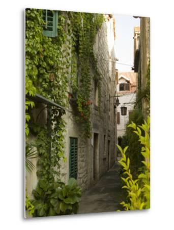 Narrow alley with historic stone buildings, Trogir, Dalamatia, Croatia-John & Lisa Merrill-Metal Print
