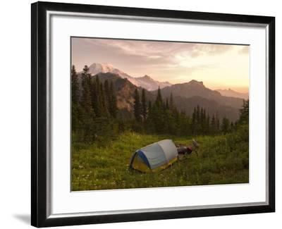 Blue backpacking tent in the Tatoosh Wilderness, Washington State, USA-Janis Miglavs-Framed Photographic Print