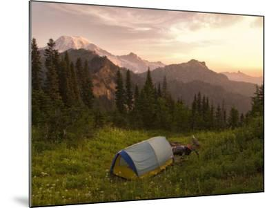 Blue backpacking tent in the Tatoosh Wilderness, Washington State, USA-Janis Miglavs-Mounted Photographic Print
