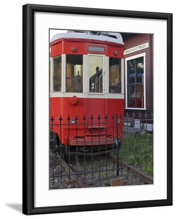 Railroad car at the train depot park in Issaquah, Washington, USA-Janis Miglavs-Framed Photographic Print