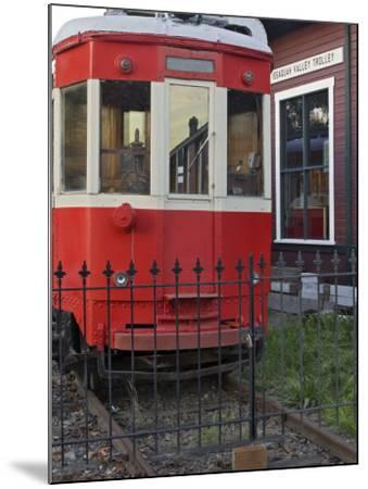 Railroad car at the train depot park in Issaquah, Washington, USA-Janis Miglavs-Mounted Photographic Print