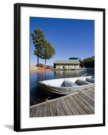 Skiff and boathouse at Oliver Lodge on Lake Winnipesauke, Meredith, New Hampshire, USA-Jerry & Marcy Monkman-Framed Photographic Print