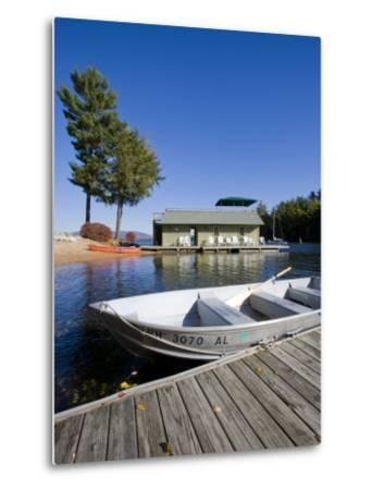 Skiff and boathouse at Oliver Lodge on Lake Winnipesauke, Meredith, New Hampshire, USA-Jerry & Marcy Monkman-Metal Print