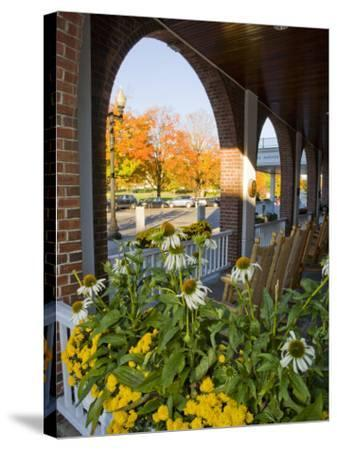 Front Porch of the Hanover Inn, Dartmouth College Green, Hanover, New Hampshire, USA-Jerry & Marcy Monkman-Stretched Canvas Print