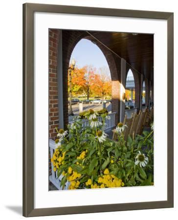 Front Porch of the Hanover Inn, Dartmouth College Green, Hanover, New Hampshire, USA-Jerry & Marcy Monkman-Framed Photographic Print