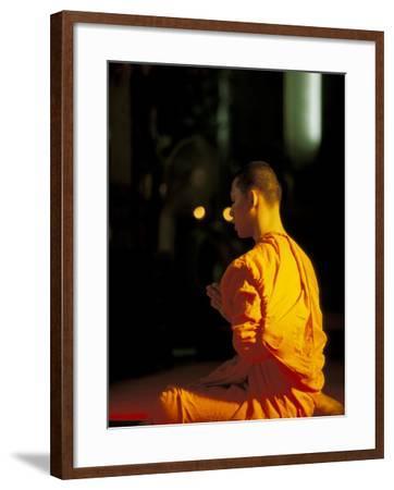 Buddhist Monk at Morning Prayer, Marble Temple, Bangkok, Thailand-Paul Souders-Framed Photographic Print