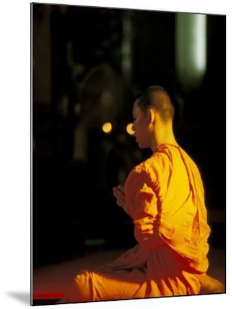 Buddhist Monk at Morning Prayer, Marble Temple, Bangkok, Thailand-Paul Souders-Mounted Photographic Print