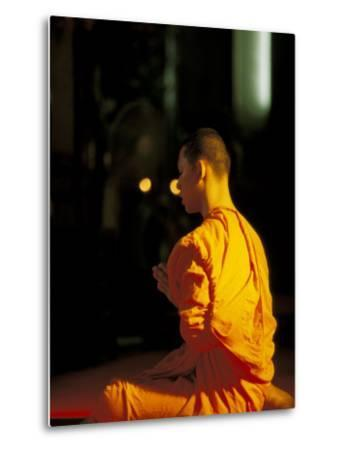 Buddhist Monk at Morning Prayer, Marble Temple, Bangkok, Thailand-Paul Souders-Metal Print