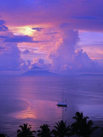 Sailboat Anchored in the Pacific Ocean at Sunset Off the Manado Coast-Greg Dale-Framed Photographic Print