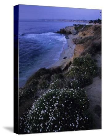 San Diego's Cliff-Lined Pacific Shore at Twilight-Michael Melford-Stretched Canvas Print