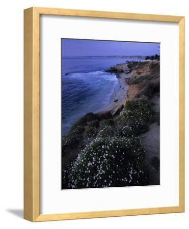 San Diego's Cliff-Lined Pacific Shore at Twilight-Michael Melford-Framed Photographic Print
