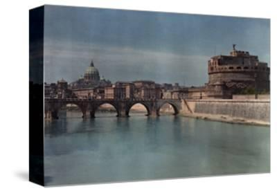 View of Rome from across the Tiber River-Hans Hildenbrand-Stretched Canvas Print