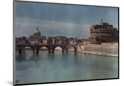 View of Rome from across the Tiber River-Hans Hildenbrand-Mounted Photographic Print