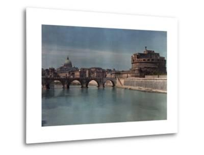 View of Rome from across the Tiber River-Hans Hildenbrand-Metal Print