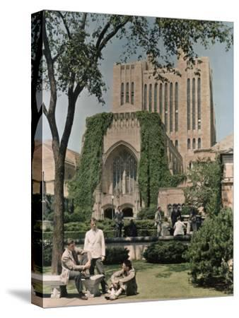 Students Mingle Ouside the Yale University Library-Willard Culver-Stretched Canvas Print
