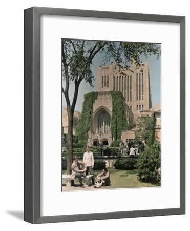 Students Mingle Ouside the Yale University Library-Willard Culver-Framed Photographic Print