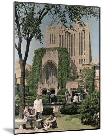 Students Mingle Ouside the Yale University Library-Willard Culver-Mounted Photographic Print