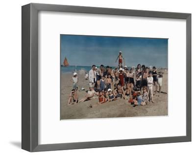 Large Group of Children Celebrate a Holiday on the Adriatic-Hans Hildenbrand-Framed Photographic Print