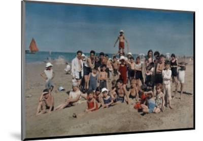 Large Group of Children Celebrate a Holiday on the Adriatic-Hans Hildenbrand-Mounted Photographic Print
