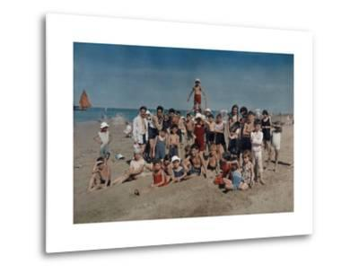 Large Group of Children Celebrate a Holiday on the Adriatic-Hans Hildenbrand-Metal Print