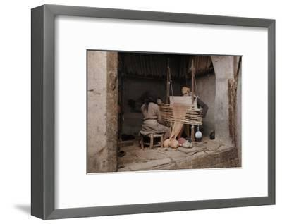 Two People Work on a Handloom in a Weaving Capital, Damascus-Gervais Courtellemont-Framed Photographic Print