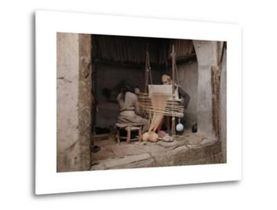 Two People Work on a Handloom in a Weaving Capital, Damascus-Gervais Courtellemont-Metal Print
