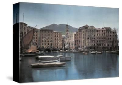 View of Ships at Port in a Small Italian Town-Hans Hildenbrand-Stretched Canvas Print