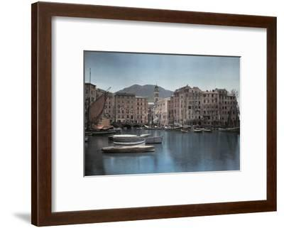 View of Ships at Port in a Small Italian Town-Hans Hildenbrand-Framed Photographic Print