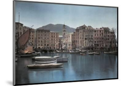 View of Ships at Port in a Small Italian Town-Hans Hildenbrand-Mounted Photographic Print