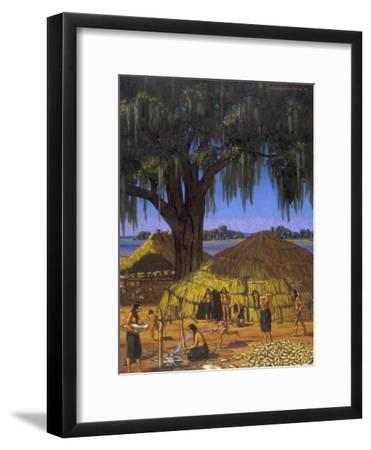 Choctaws in Louisiana Bayou Country Harvest Corn-W. Langdon Kihn-Framed Photographic Print