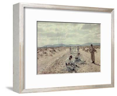 French Foreign Legion Works to Build Roads in the Algerian Desert-Gervais Courtellemont-Framed Photographic Print