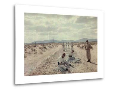 French Foreign Legion Works to Build Roads in the Algerian Desert-Gervais Courtellemont-Metal Print