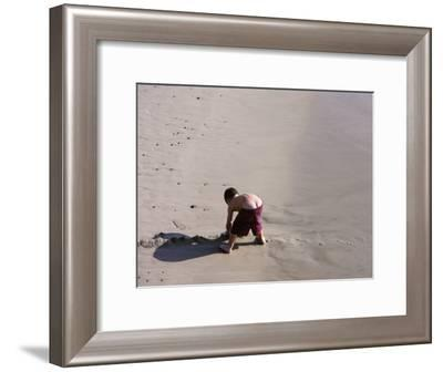 Boy's Bottom Peeks Out from His Bathing Suit as He Plays in Sand-White & Petteway-Framed Photographic Print