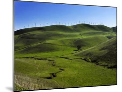 Wind Turbines Line a Mountain Ridge Above a Fertile Farming Valley-White & Petteway-Mounted Photographic Print
