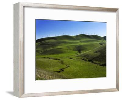 Wind Turbines Line a Mountain Ridge Above a Fertile Farming Valley-White & Petteway-Framed Photographic Print
