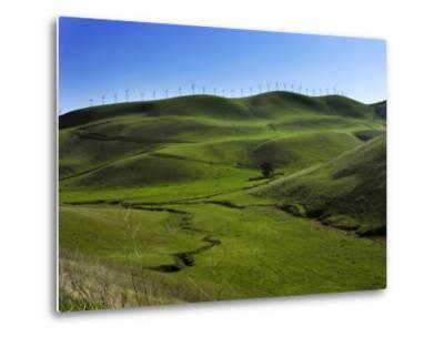 Wind Turbines Line a Mountain Ridge Above a Fertile Farming Valley-White & Petteway-Metal Print