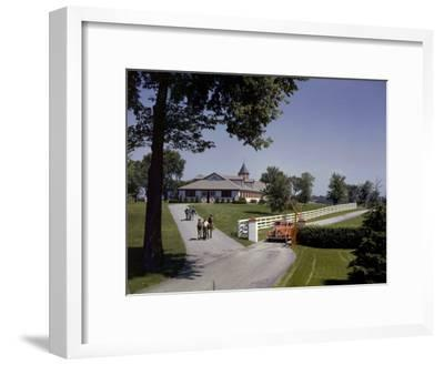 View of the Grounds at Calumet Farm, Where Race Horses are Held-B^ Anthony Stewart-Framed Photographic Print