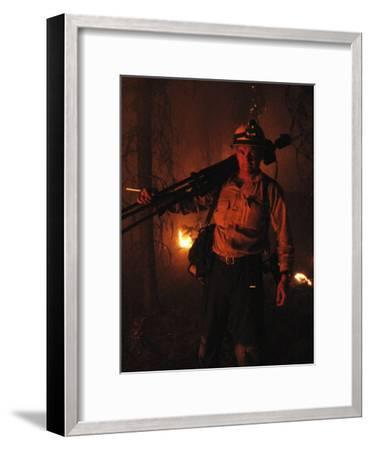 Photographer on Assignment Covering Forest Fires-Mark Thiessen-Framed Photographic Print