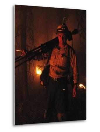 Photographer on Assignment Covering Forest Fires-Mark Thiessen-Metal Print