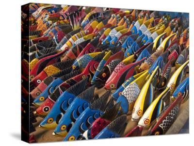 Painted Wooden Fish for Sale in Zanzibar-Michael Melford-Stretched Canvas Print