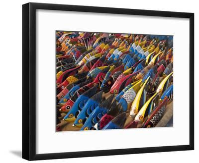Painted Wooden Fish for Sale in Zanzibar-Michael Melford-Framed Photographic Print
